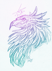 Arcane Gryphon Sketch by KeeperofAges