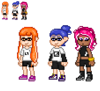 inkling girl, inkling boy and octoling girl by alexmauricio407