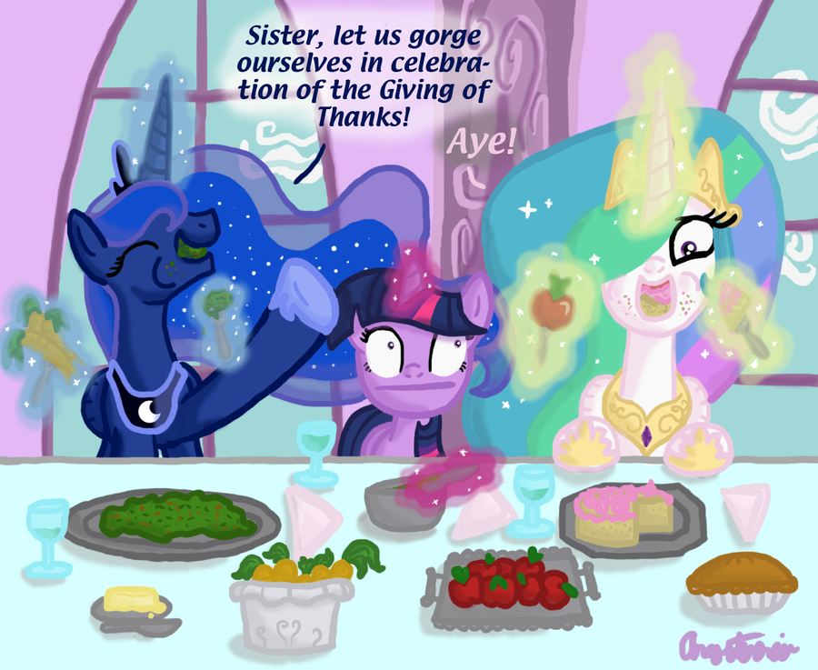 Thanksgiving with Luna and Tia by InkRose98