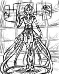 Humanoid GLaDOS Rough Sketch