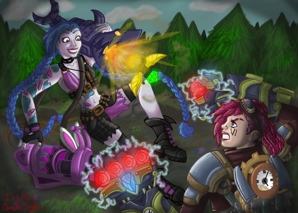 Jinx vs Vi: League of Legends Face Off Contest by InkRose98