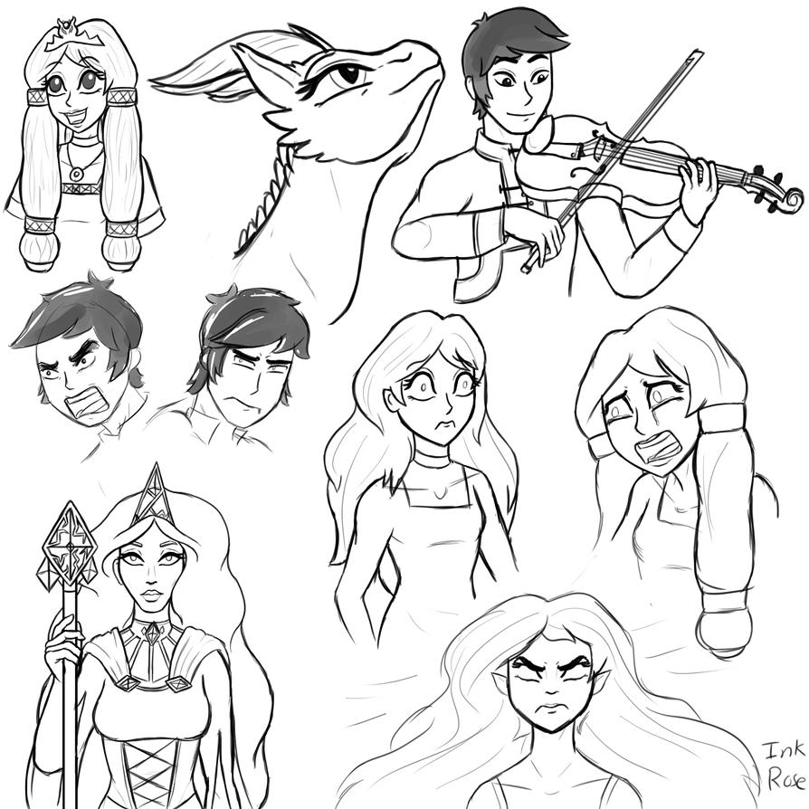 Dragon Queen Sketch Dump by InkRose98