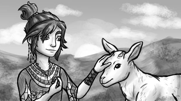 Young Taliyah and Goat (League of Legends)