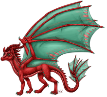 Aelwen's Dragon Form (Shaded) by InkRose98