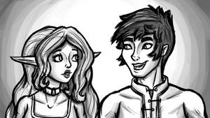 Aelwen and Gerel Talking by InkRose98