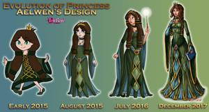 Princess Aelwen Design Evolution by InkRose98