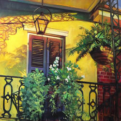 New Orleans Balcony Saturated by the Setting Sun by Sloppygee