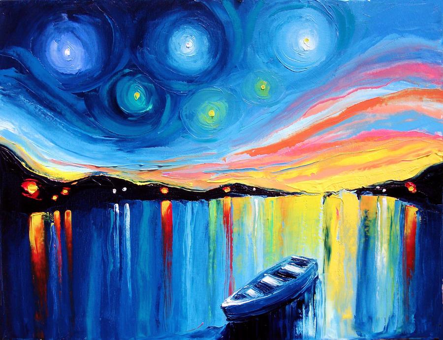 Midnight harbor 43 by sagittariusgallery on deviantart for Imagenes de cuadros abstractos famosos