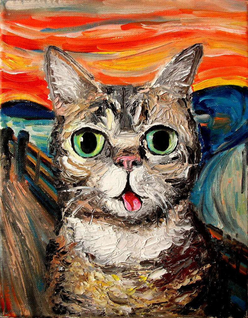 Lil bub meets the scream by sagittariusgallery on deviantart for Buy mural paintings