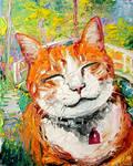 So Happy Smiling Cat in Monet's Garden