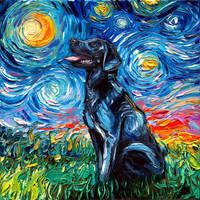 Black Labrador Night by sagittariusgallery