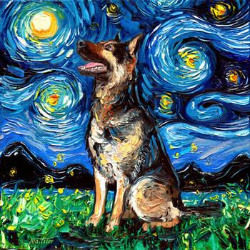 German Shepherd Night 2 by sagittariusgallery