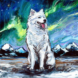Samoyed Night by sagittariusgallery