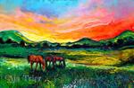 Meadow Sunset by sagittariusgallery