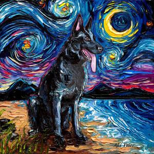 Black German Shepherd Night