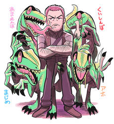 Owen and his raptors by Gashi-gashi