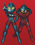 ultraman and ultraseven by Gashi-gashi