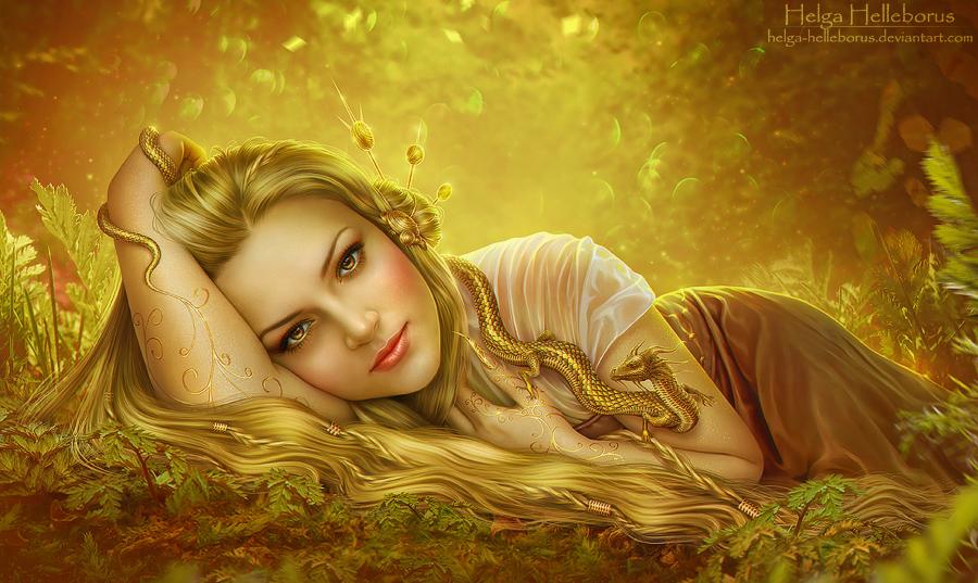 Golden Dragon by Helga-Helleborus