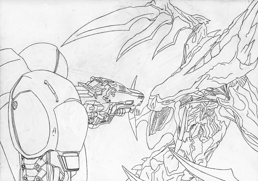 Marine vs Hydralisk Ink Sketch by Laitz