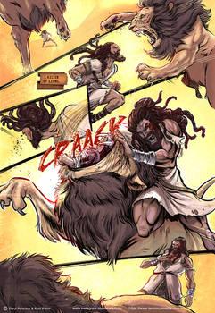 Samson vs Lion comic page