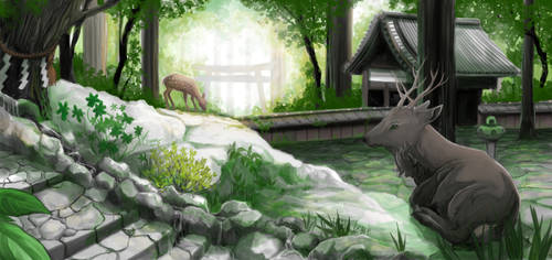 Deers in japanese forest by Aerinn-I