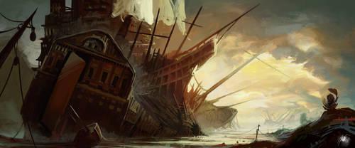 Destroyed ship house by Reicheran