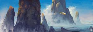 Flight between the rocks