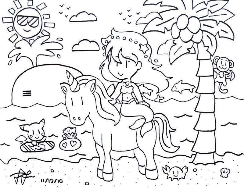 It is a graphic of Handy Unicorn And Mermaid Coloring Pages
