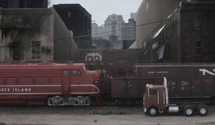 Weird train passing through the ghetto
