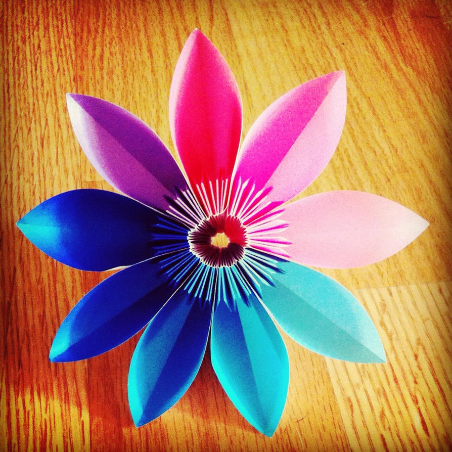 Multi colored kusudama butterfly flower nine pedal by for How to make multi colored flowers