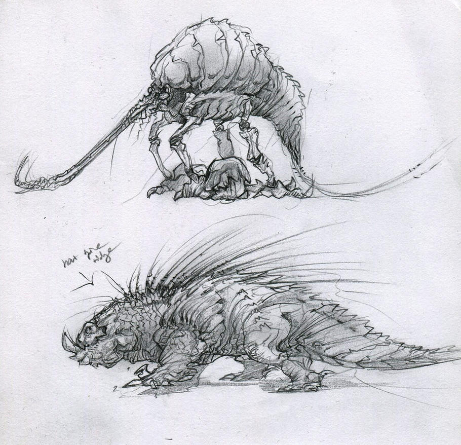 Creature sketches by Colubrine