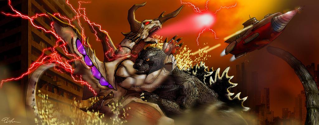 Godzilla vs Bagan (ver.II) by Fourgreen
