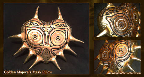 Golden Majora's Mask Pillow
