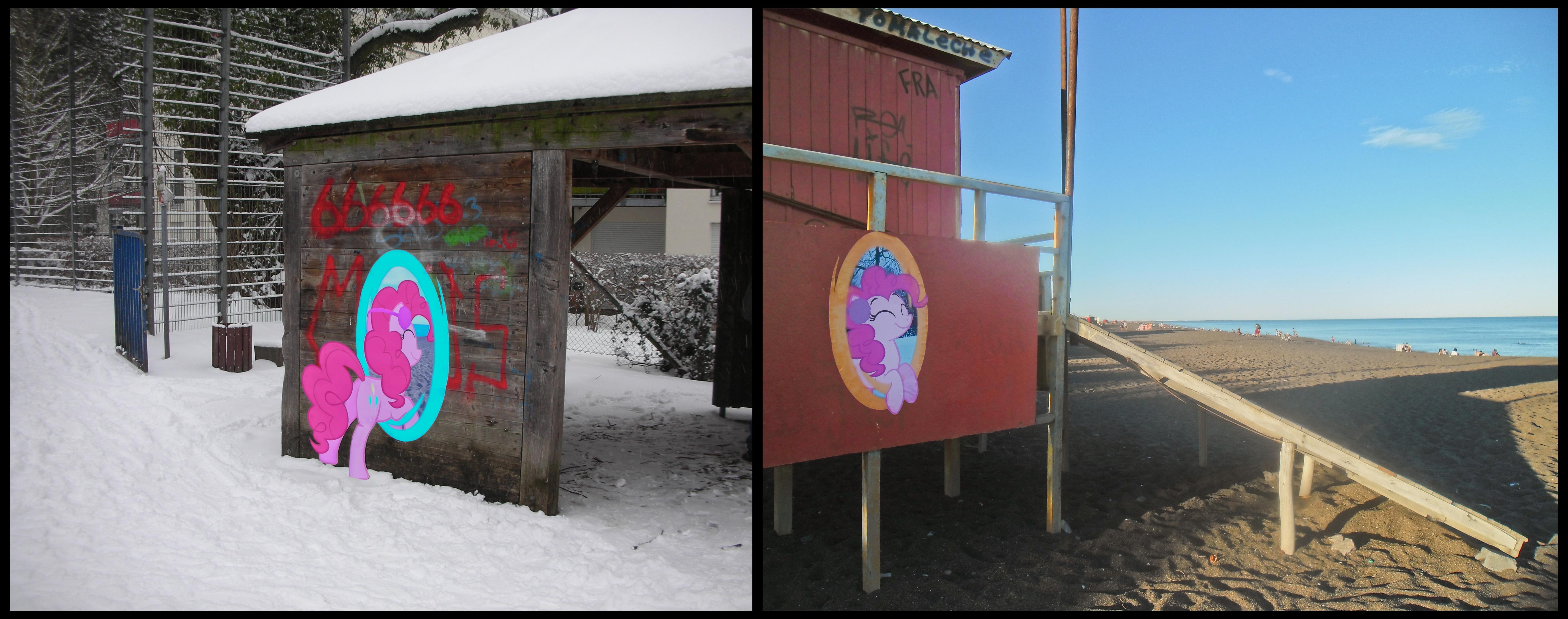 Pinkie Pie portals around the world