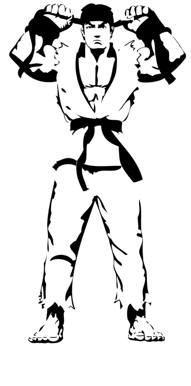 Street fighter Ryu stencil by Branbot