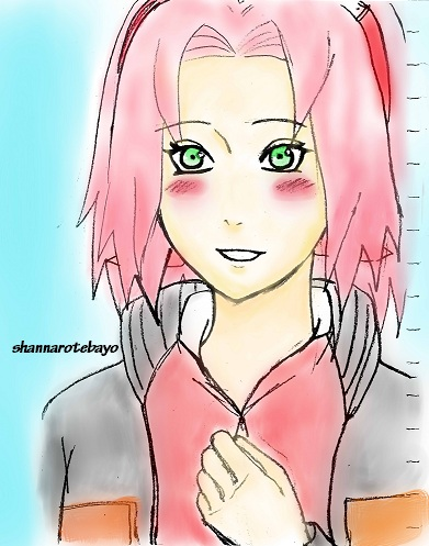 Sakura in Naruto's jacket by Heemana