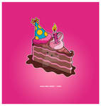 Kawaii Choco B-Day Cake Slice