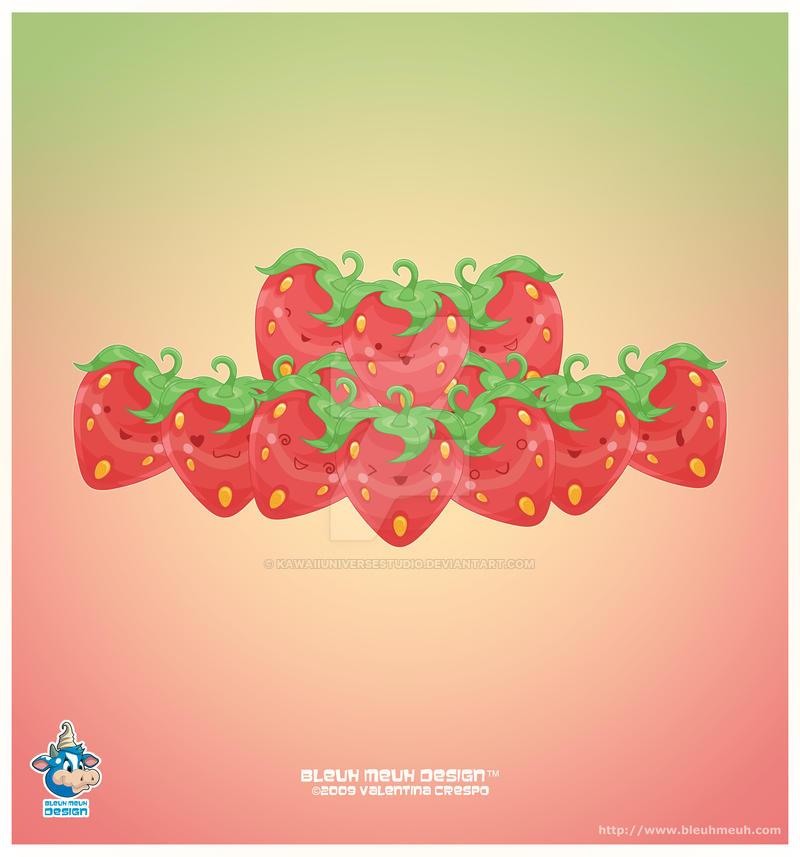 Kawaii Strawberries by KawaiiUniverseStudio