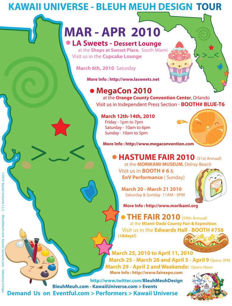 Kawaii Events Flyer March 2010 by KawaiiUniverseStudio on