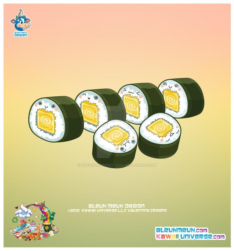 Kawaii Tomago Sushi Roll By KawaiiUniverseStudio