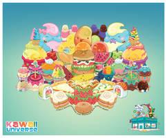 Kawaii Cute Food Group Bonanza Vector