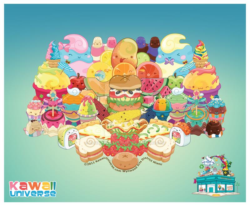 Kawaii Cute Food Group Bonanza Vector by KawaiiUniverseStudio