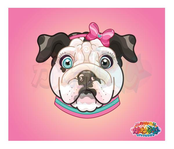 Kawaii Universe Cute English Bulldog Pet Portrait by KawaiiUniverseStudio