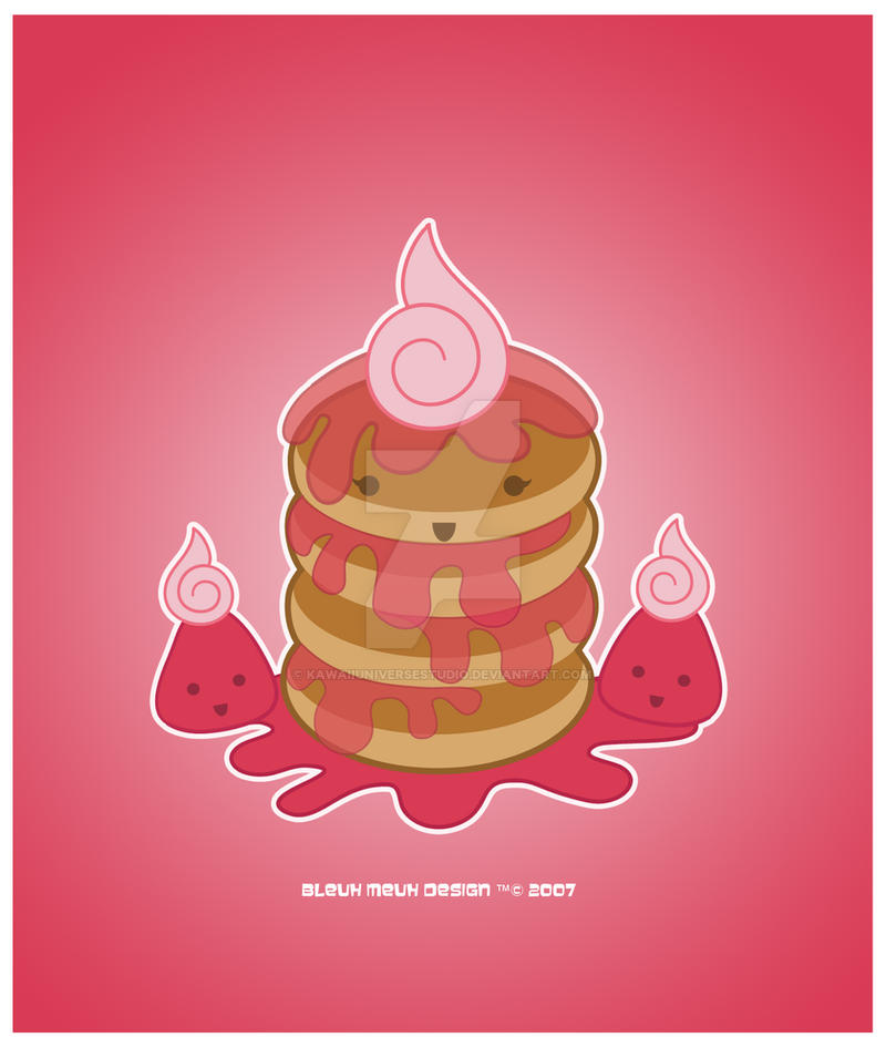 Kawaii Ichigo Jam Pancakes by KawaiiUniverseStudio
