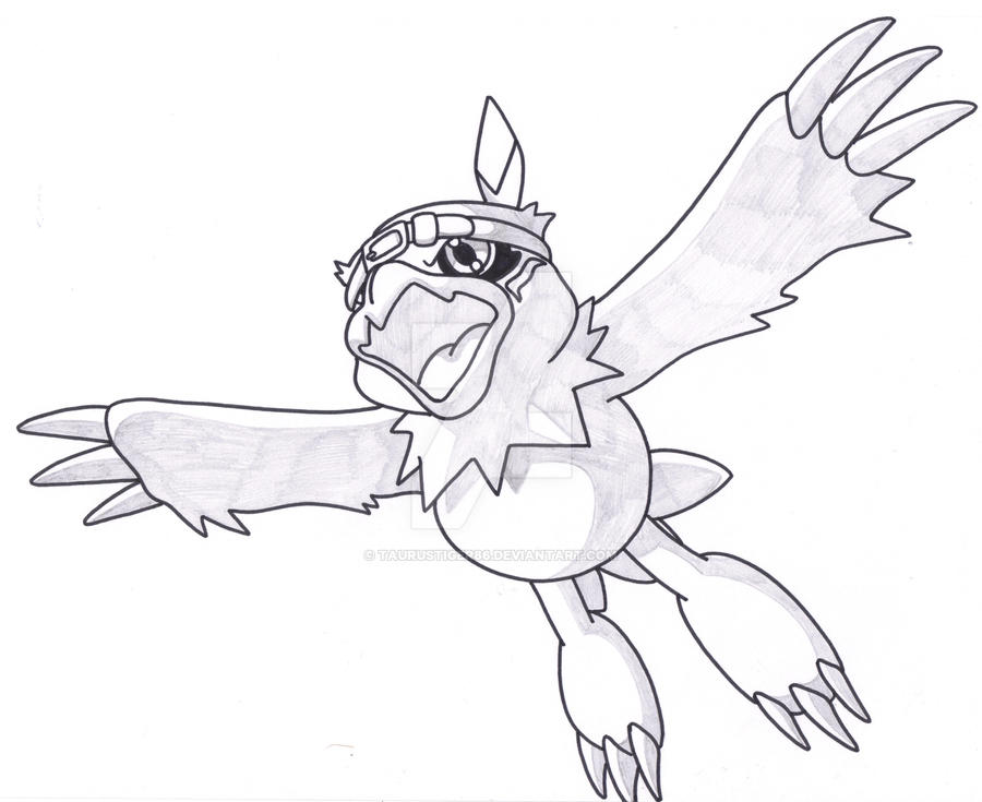 Hawkmon take flight by Taurustiger86