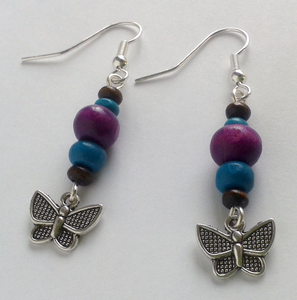 brown blue lilac wood pearls silver butterflies by syn-O-nyms