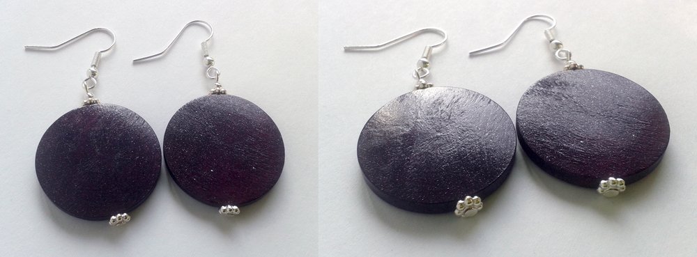 lilac glitter wood disc earrings by syn-O-nyms