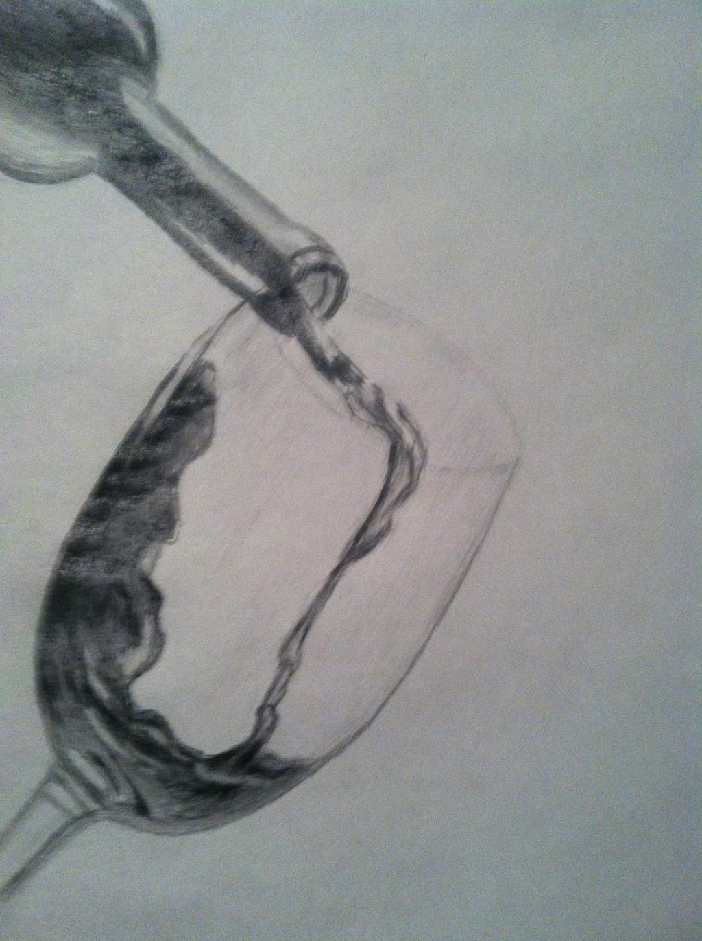 Pencil drawing bottle of wine and glass by Floridastate on ...