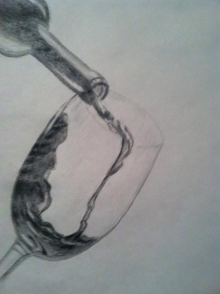 Pencil Drawing Wine Bottle Grape Stockillustration ...