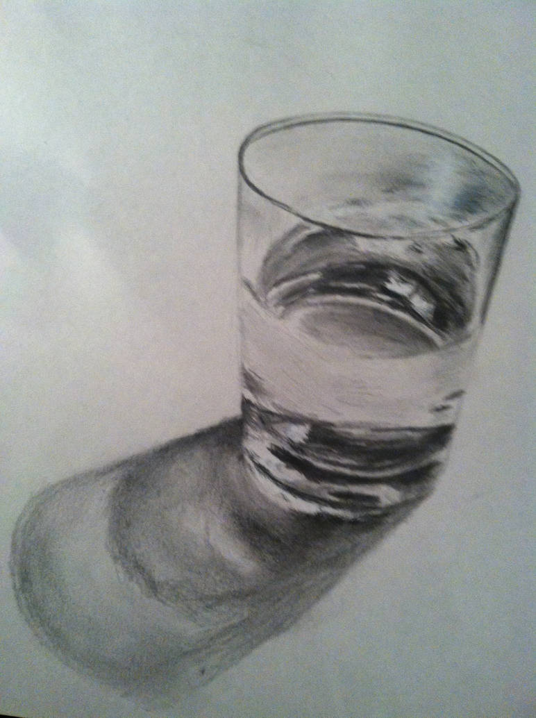 Pencil drawing glass of water by floridastate on deviantart